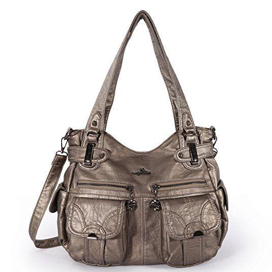 fee40b7efedf Angelkiss Women s Handbag Large Double Zipper Multi Pocket Washed Shoulder  bag Designer Handbags for Women .