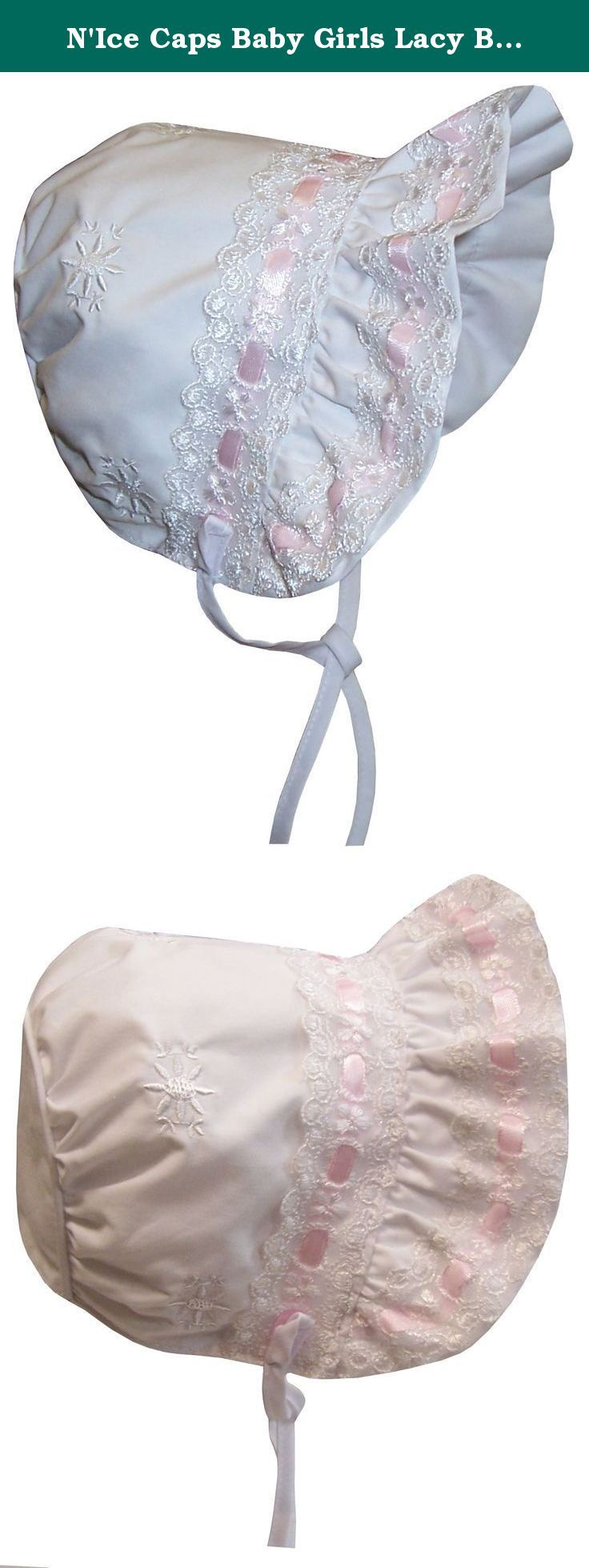 N'Ice Caps Baby Girls Lacy Bonnet With Flowers Embroidery (Infant Small (3-6 months), white/pink). Sun Caps TM baby girls fancy lacy bonnet with ribbon trim and flowers embroideries. Piping in back, full brim, full lining. Poly/cotton soft poplin shell and lining for added comfort, feels cool when in the sun, and wind resistant. Color: white/pink. Available in 5 baby sizes. One size fits Infant X-Small (recommended for 1-2 months.) One size fits Infant Small (recommended for 3-6 months.)…