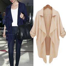 La moda de nueva tallas para mujer suelta Batwing Cardigan traje de gasa solapa de la chaqueta Tops Y1(China (Mainland))
