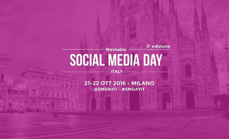 """Torna il Mashable Social Media Day Italia il 21 e 22 Ottobre a #Milano """"L'#evento che celebra la rivoluzione #digitale e le potenzialità dei #socialnetwork attraverso le testimonianze dei migliori esperti del settore""""  Nella 3° Edizione la parola d'ordine sarà #innovazione, due giornate di #aggiornamento e #formazione che ti aiuteranno ad affinare le potenzialità per il tuo #business. Non perdere altro tempo iscriviti -> http://www.yourbrand.camp/index.php"""