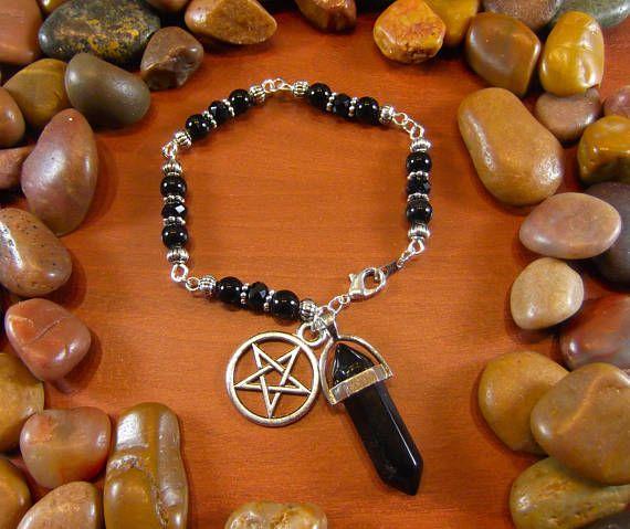 Black Onyx Crystal Talisman Pentagram Bracelet by StarshineBeads on Etsy. Discount Code PINTEREST10