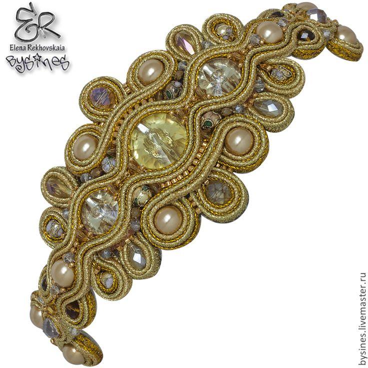 """Купить Сутажный браслет """"585"""" - золотой, сутажный браслет, сутажные украшения, золотой браслет"""