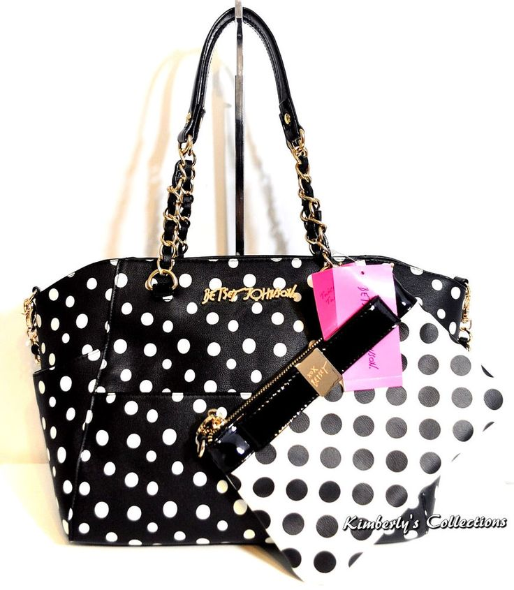 Betsey Johnson Hidden Treasure 2 Bags in 1 Satchel Tote Bag Clutch Purse Set NWT #BetseyJohnson #BackpackShoulderBagToteShoppersDiaperBag