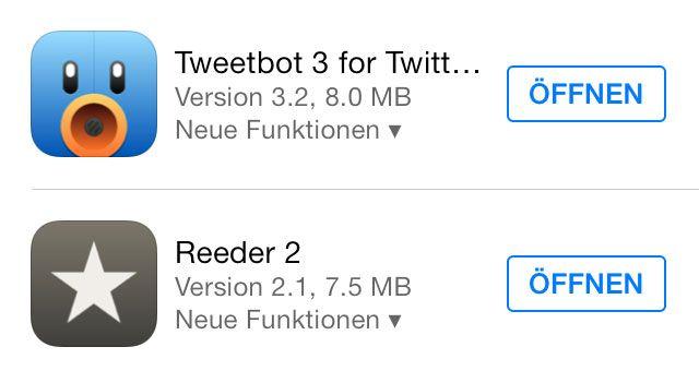 App Store: Tweetbot 3.2 mit Night-Mode, Reeder 2.1 mit Themes, 1Password billiger - http://apfeleimer.de/2013/11/app-store-tweetbot-3-2-mit-night-mode-reeder-2-1-mit-themes-1password-billiger - Holla die Waldfee! Unsere drei iPhone Lieblings-Apps in der Kategorie Twitter Client: Tweetbot 3, RSS Reader: Reeder 2 wurden heute mit einem Update belohnt und unser Lieblings-Passwort-Manager fürs iPhone 1Passwordgibts aktuell 40 Prozent billiger. Tapbot Paul bringt Tweetbot 3.2 i