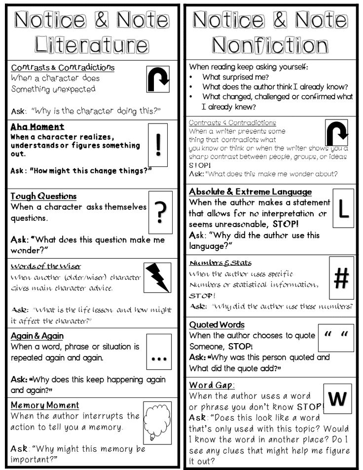 Notice and Note! Bookmark for Signposts for Literature & Informational Texts