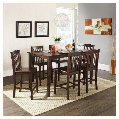 5 Piece Wood Counter Height Dining Set - Rustic Dark Mahogany (Brown) - Dorel Living