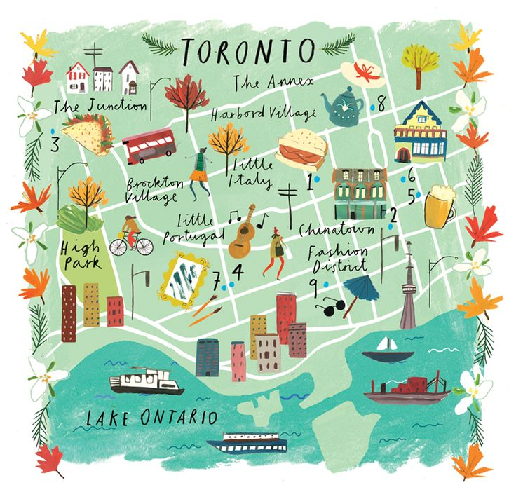 Clair Rossiter illustration of Toronto for Sainsbury's magazine