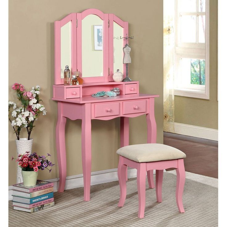 Pink Vanity Table - Real Wood Home Office Furniture Check more at http://www.nikkitsfun.com/pink-vanity-table/