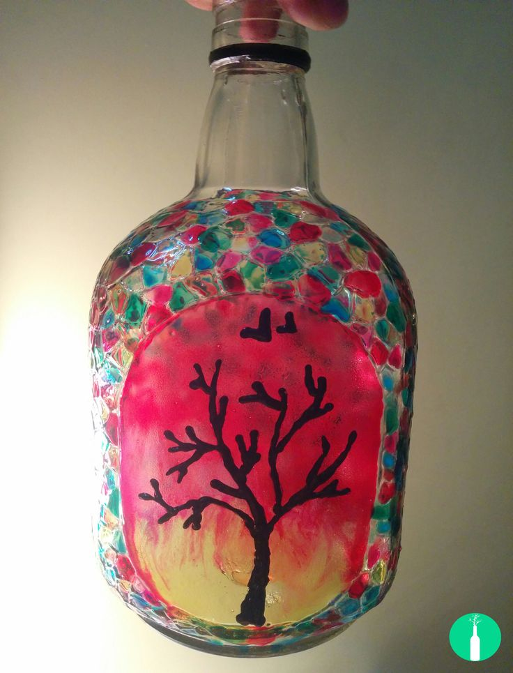 A Sunset Themed Painting On An Empty Old Monk Bottle Hand Painted Bottle Lamps Bottle