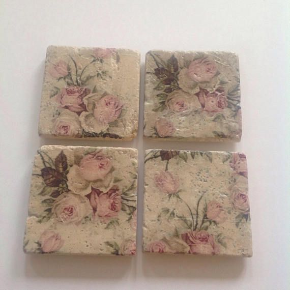 Set of 4 rose coasters high quality made in Scotland