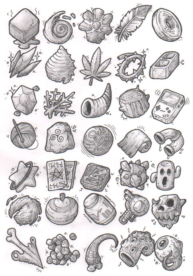 Sketches: Items by KupoGames gear icons buttons equipment magic items game user interface gui ui | Create your own roleplaying game material w/ RPG Bard: www.rpgbard.com | Writing inspiration for Dungeons and Dragons DND D&D Pathfinder PFRPG Warhammer 40k Star Wars Shadowrun Call of Cthulhu Lord of the Rings LoTR + d20 fantasy science fiction scifi horror design | Not Trusty Sword art: click artwork for source