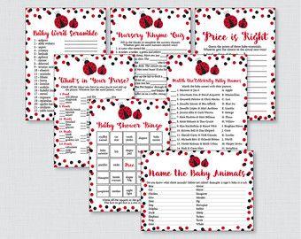 Ladybug Baby Shower Bundle Game Little Lady Bug by DearHenryDesign