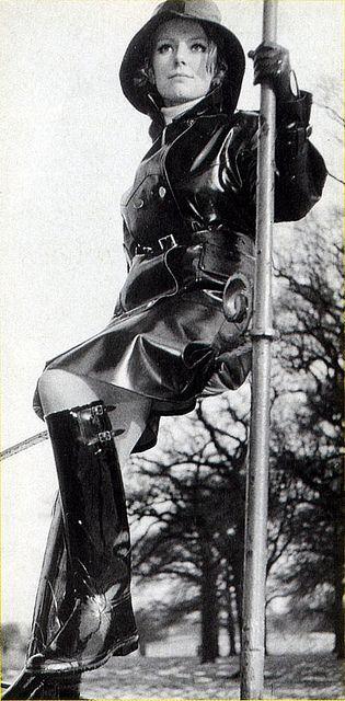 Vintage Black Rubber Raincoat, Hat & Boots