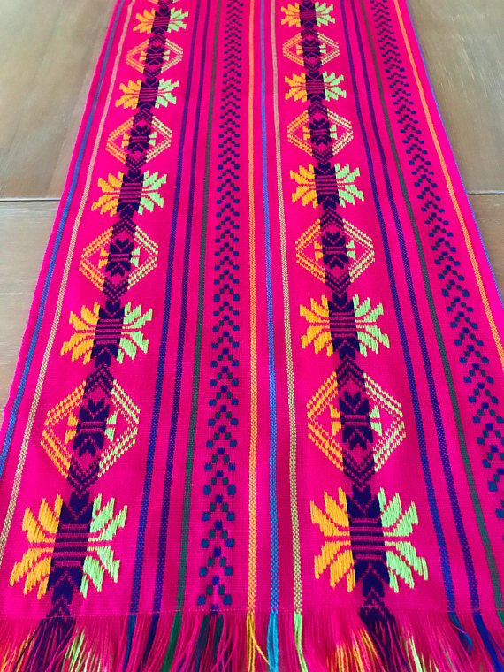 Mexican fabric table runner napkins or tablecloth. Hot Pink