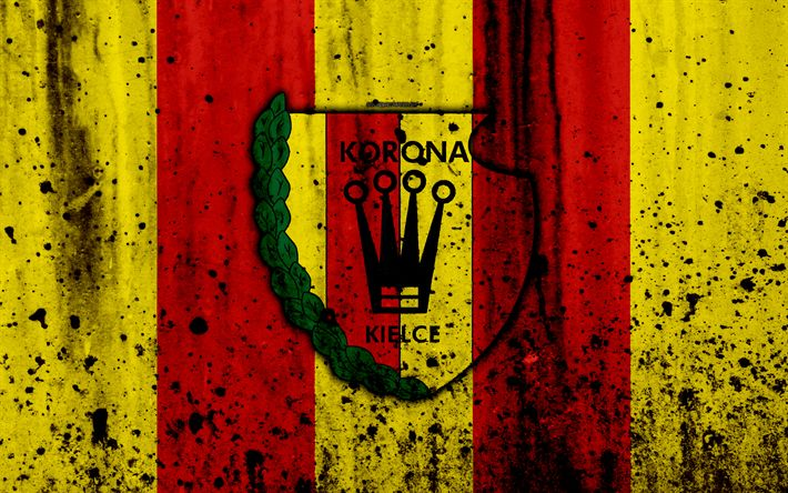 Download wallpapers FC Korona Kielce, 4k, grunge, Ekstraklasa, logo, football club, Poland, Korona Kielce, soccer, art, stone texture, Korona Kielce FC