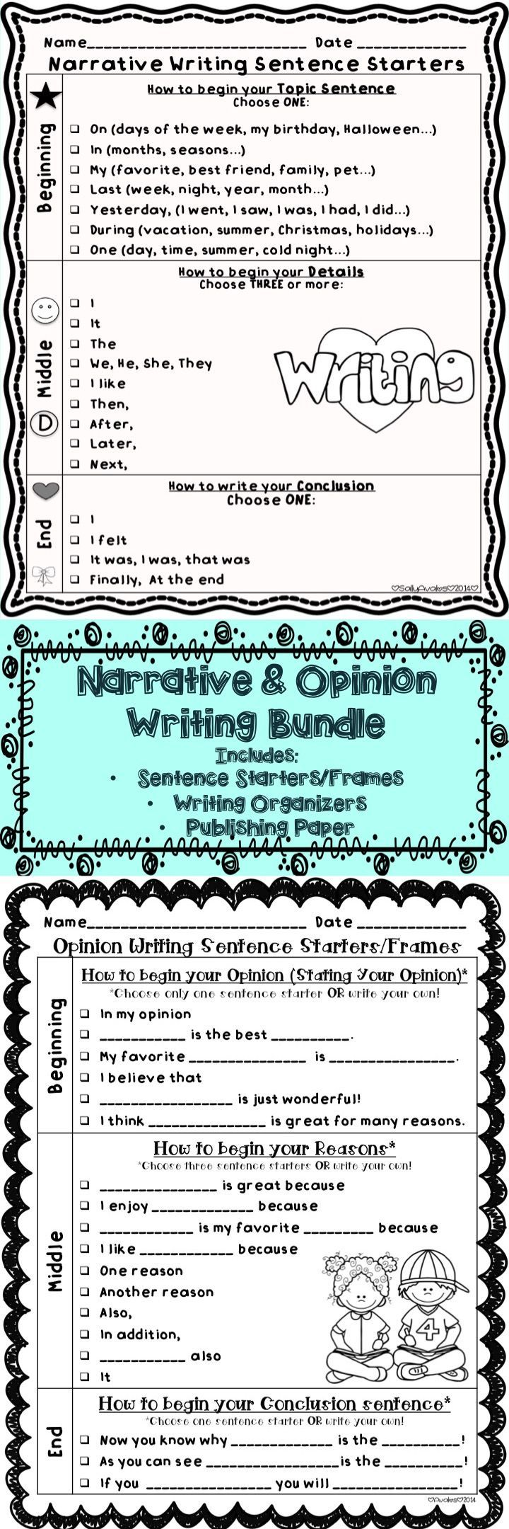 This set of Opinion & Narrative writing sentence starters/frames, graphic organizers, and publishing templates are perfect to help your little writers write opinions and narratives. $: