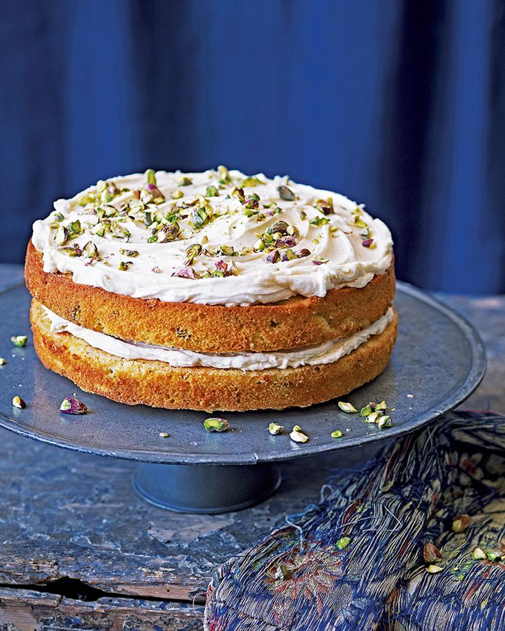 Chetna Makan's combines the flavours of pistachio, cardamom and white chocolate to make the lightest of cakes that's perfect served for afternoon tea.