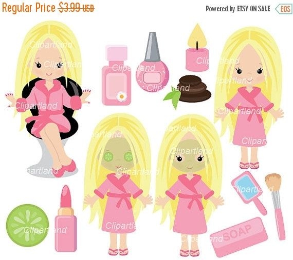 ON SALE INSTANT Download. Csp_37_Spa. Spa girl party clip art. Personal and commercial use.