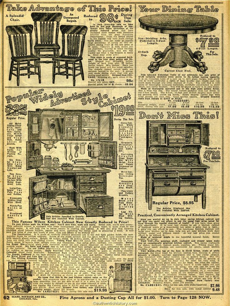 1914 Sears Household Catalog kitchen furniture  Early