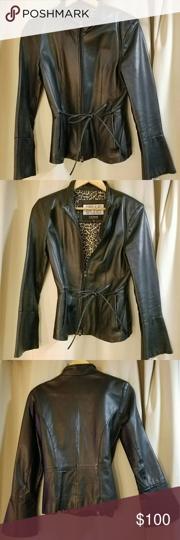 Genuine Lambskin Leather Jacket Satin-like animal print lining. Optional tie front. Great condition. Tulip style cuff. Wilsons Leather Jackets & Coats