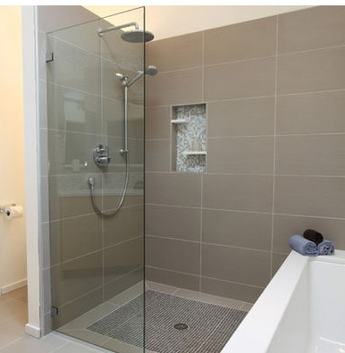 What our shower would look like with single panel & tub
