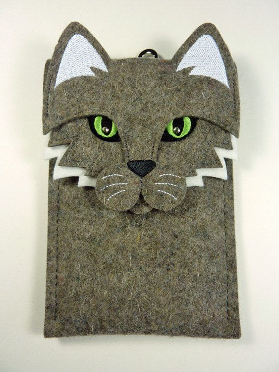 Samsung Galaxy Note 3 case  Cat in gray felt by BoutiqueID on Etsy, $35.00