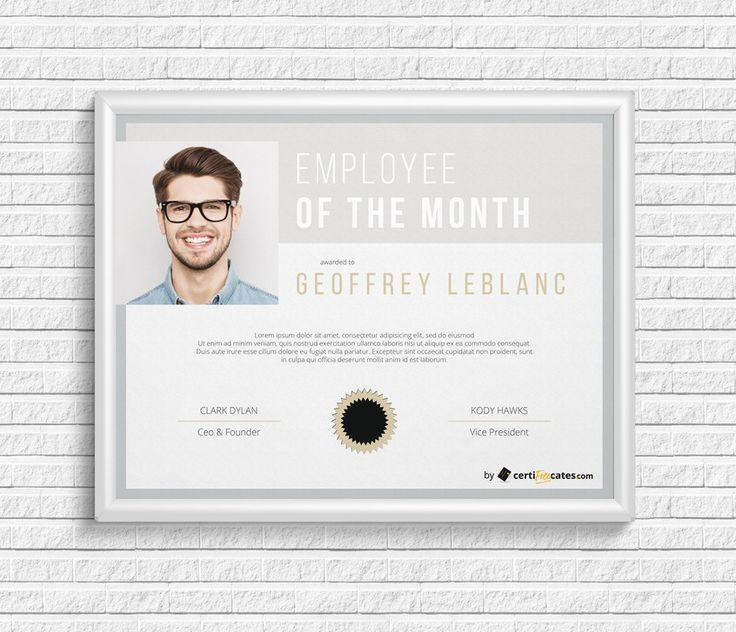 Employee of the Month Award with Picture #Reward #certificate #template