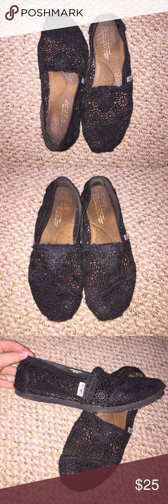 Authentic black crochet TOMS Shoes Worn but still in good condition. Crochet still in great condition. Insole and outsole a little worn out. Asking for 25$ or best offer!!! TOMS Shoes Flats & Loafers