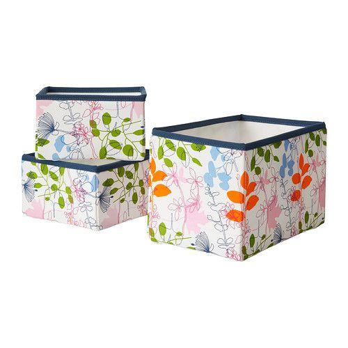 NOTUDDEN Korb 3er-Set - Blüten/Blätter/bunt  - IKEA