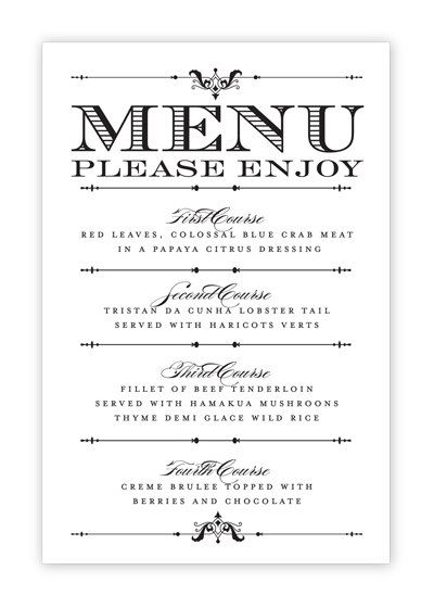 Wedding Menu Card  Printable DIY by HeSawSparks on Etsy. Replace PLEASE ENJOY with Bon Appetit
