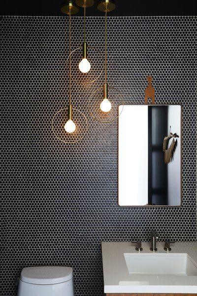 Tagged: Bath Room, Pendant Lighting, Mosaic Tile Wall, One Piece Toilet, and Undermount Sink. Photo 1 of 1 in Ladies & Gentlemen Studio Aura Lights from This Renovation Will Make You Rethink the Typical Look of a California Beach House