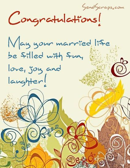 Happy Wedding Wishes Messages | Congratulations! May your married life be filled with fun, love, joy ...