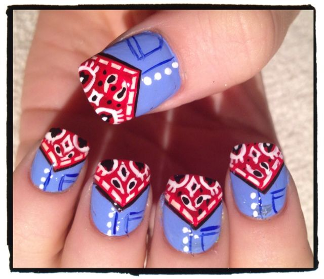 Bandanas nail art design with denim jeans  (Maybe do just one with the denim) - too cute!