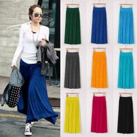 Cheap Womens Long Maxi Skirt Spring Fall Winter Pleated Modal Cotton Casual Dress