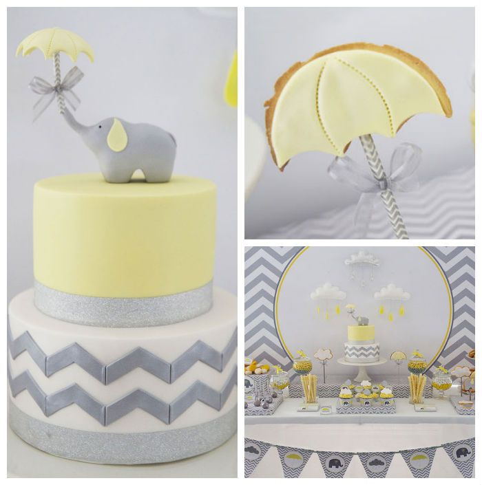 Yellow and Grey Elephant themed baby shower via Kara's Party Ideas KarasPartyIdeas.com Printables, cake, decor, tutorials, recipes, cupcakes, favors, and MORE! #elephant #babyshower #yellowandgray