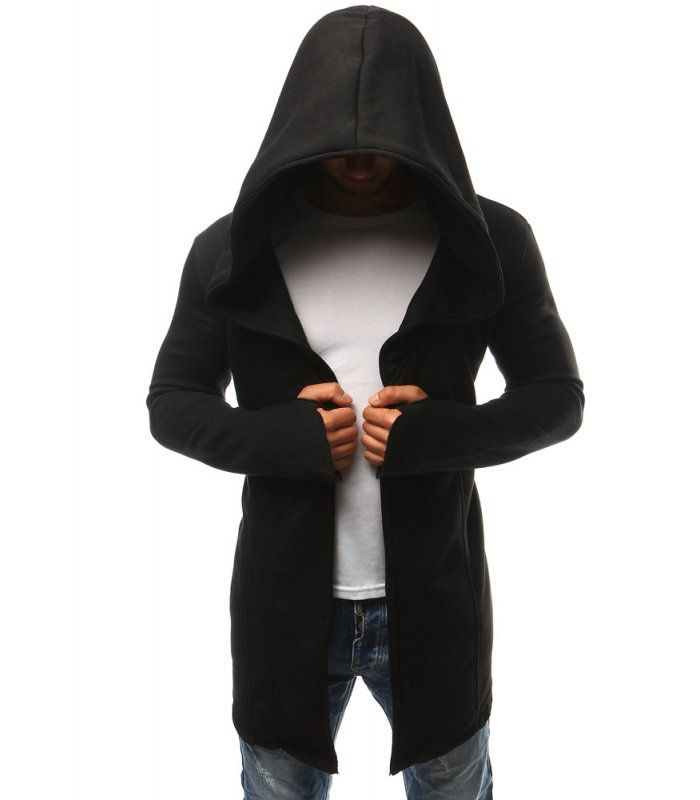 Pánska čierna pelerína s kapucňou