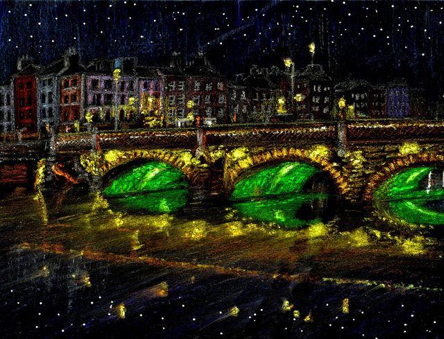 Stars over Ireland by traqair57, via Flickr  ..  -Liffey Bridge, Dublin at night-  <3