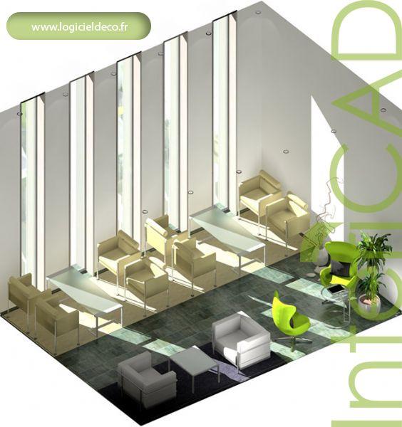 Plan 3D d'une cafétéria réalisé avec InteriCAD. Logiciel: www.logicieldeco.fr