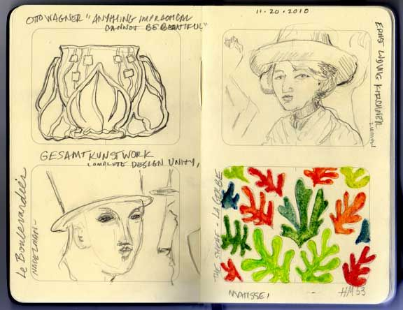 "Matisse sketchbook -   A new acquisitions was a giant ceramic wall piece designed by Matisse in the fifties. Titled La Gerbe or The Sheaf, it was one of the last pieces Matisse did. He designed it out of cut paper, and it was made into tile. (He called it ""painting with scissors"")"