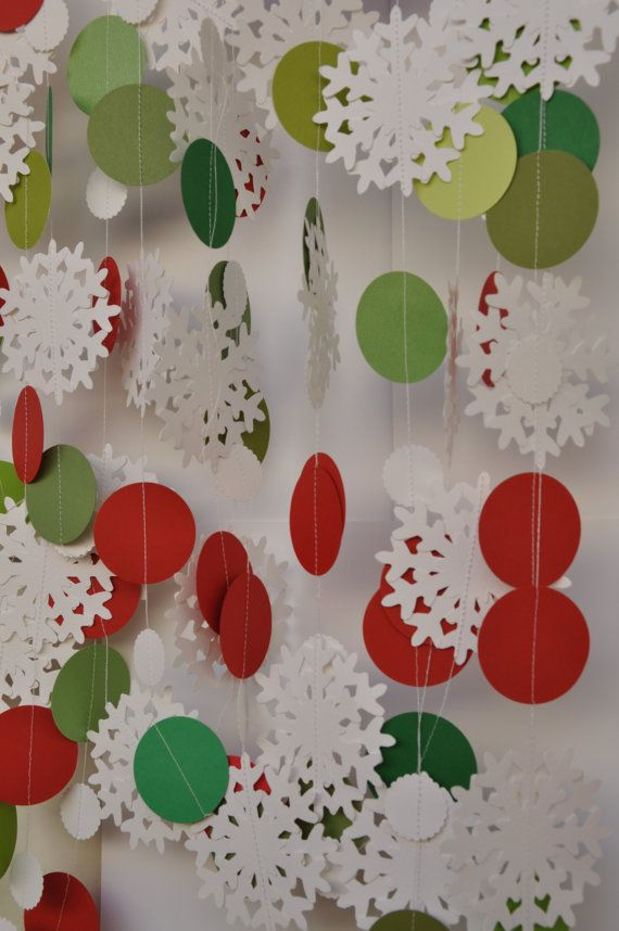 Snowflake garland ... would be beautiful w/ turquoise & lavendar circles.