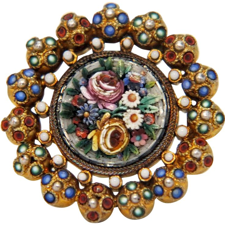 Antique Micro Mosaic brooch,gilt silver, 19th century from akaham on Ruby Lane