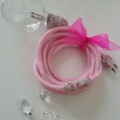 Lampe baladeuse en tricotin rose et tissu liberty eloise rose