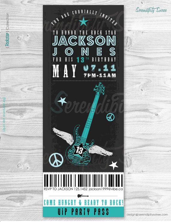 Rockstar party  Invitation  VIP TICKET  by serendipitycreative, $15.00