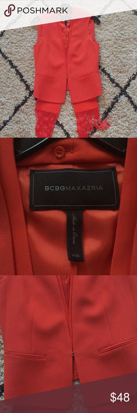 BCBG Maxazria Red Orange Vest w Removable Scarf BCBG red orange vest with removable scarf. Size XXS. Scarf has fringe and is removable. BCBGMaxAzria Jackets & Coats Vests
