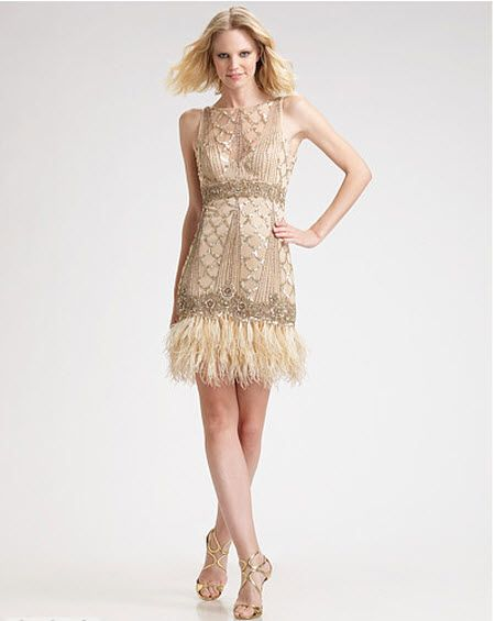 Sue Wong Sequined Feather Hem Dress