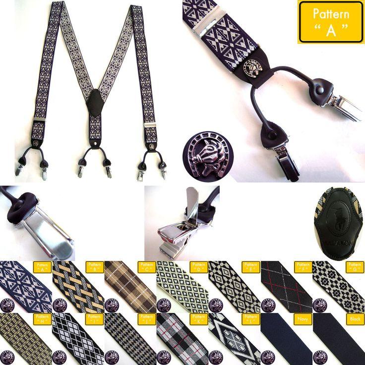 Men's Elastic Faux Leather Suspenders Dress Tuxedo Work 6Clip Emblem Braces Belt #hellobincom