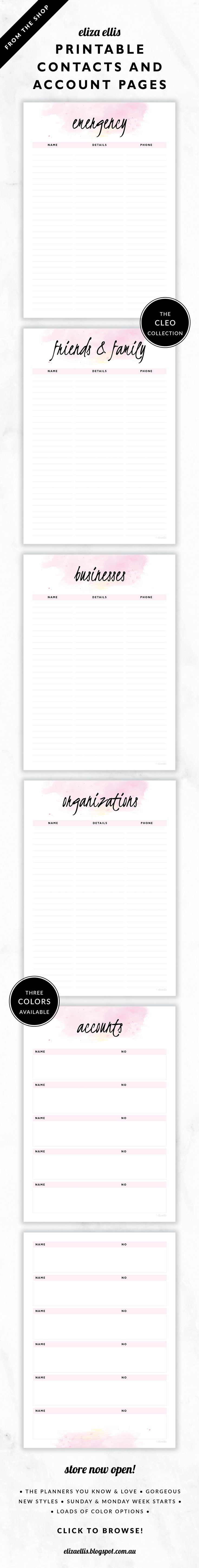 Planner Contacts and Accounts Pages // The Cleo Collection by Eliza Ellis. Gorgeous watercolor and handwritten type design. Available in 3 colors – fairyfloss, nimbus and sherbet. Documents print to A4 or A5.