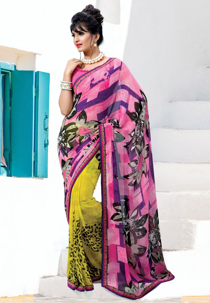 #Pink and #Yellow Faux #Georgette #Saree with Blouse @ $35.04