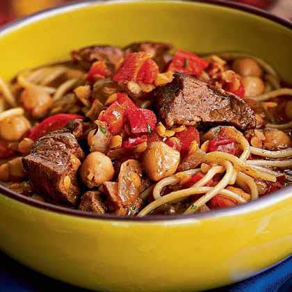 Harira is a soup native to Morocco and Algeria. It is traditionally served during Ramadan to break the day's fast, but it also sometimes  eaten after celebrations or feasts. With lamb, chickpeas, and angel hair pasta, this harira is hearty enough to be a stand-alone meal, especially on cold winter nights.