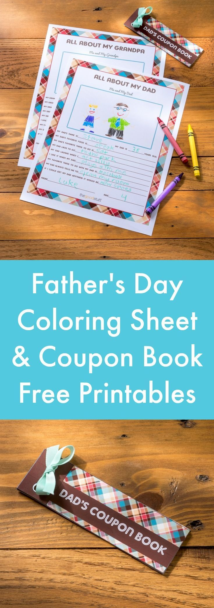 Are you ready to give dad one of his favorite gifts ever? Simply download these free printable Father's Day coupons and a coloring sheet - just click here!